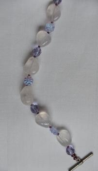 Light purple stone and glass bracelet