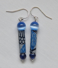 Blue origami paper earrings