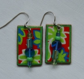 Bright multicolor decoupage and glass earrings