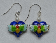Cloisonne and freshwater pearl earrings