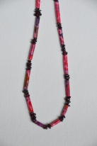 Batik and garnet necklace