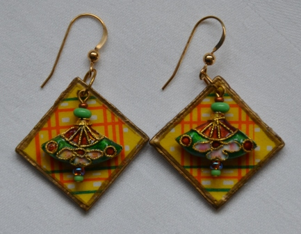 Decoupage and cloisonne earrings