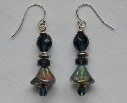 Irridescent steel blue bell flower earrings