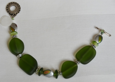 Green recycled glass bracelet