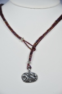 Burgundy woven lariat with pewter horse charm toggle