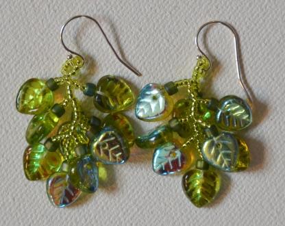 Lime green irridescent leaf fringe earrings