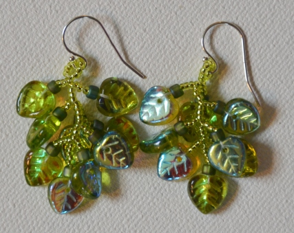 Lime green irridescent leaf fringe earrings