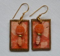Orange decoupage earrings