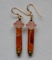 Orange batik earrings