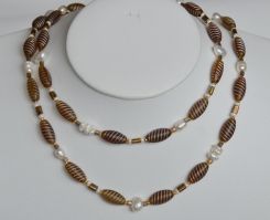 Long freshwater pearl and gold glass necklace