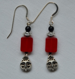 Pewter cat head earrings