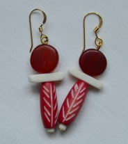 Red horn and bone earrings
