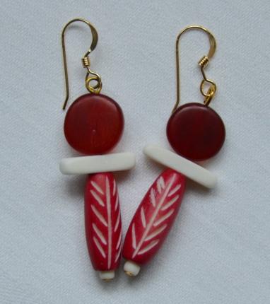 Red horn and bone earrings