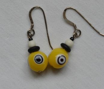Yellow eye bead earrings